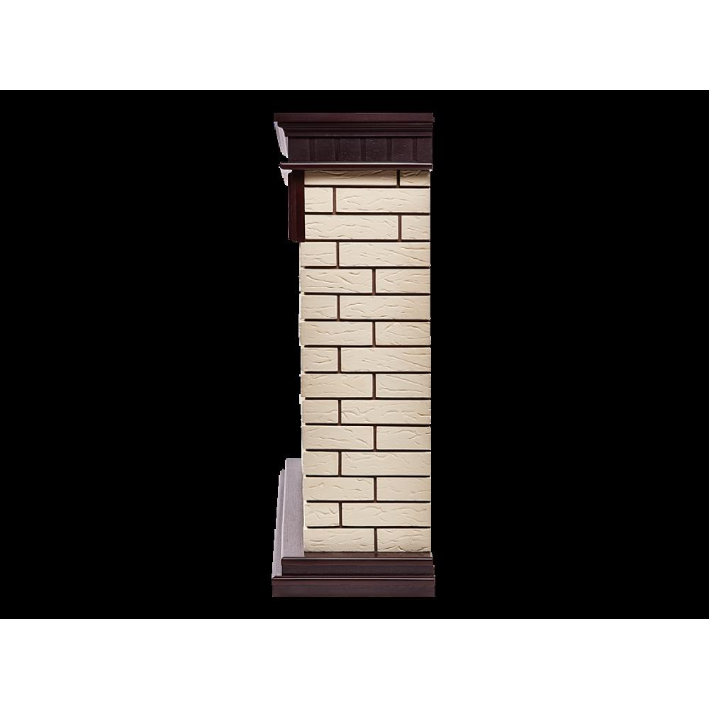 Каминокомплект Bricks Classic камень бежевый, шпон темный дуб