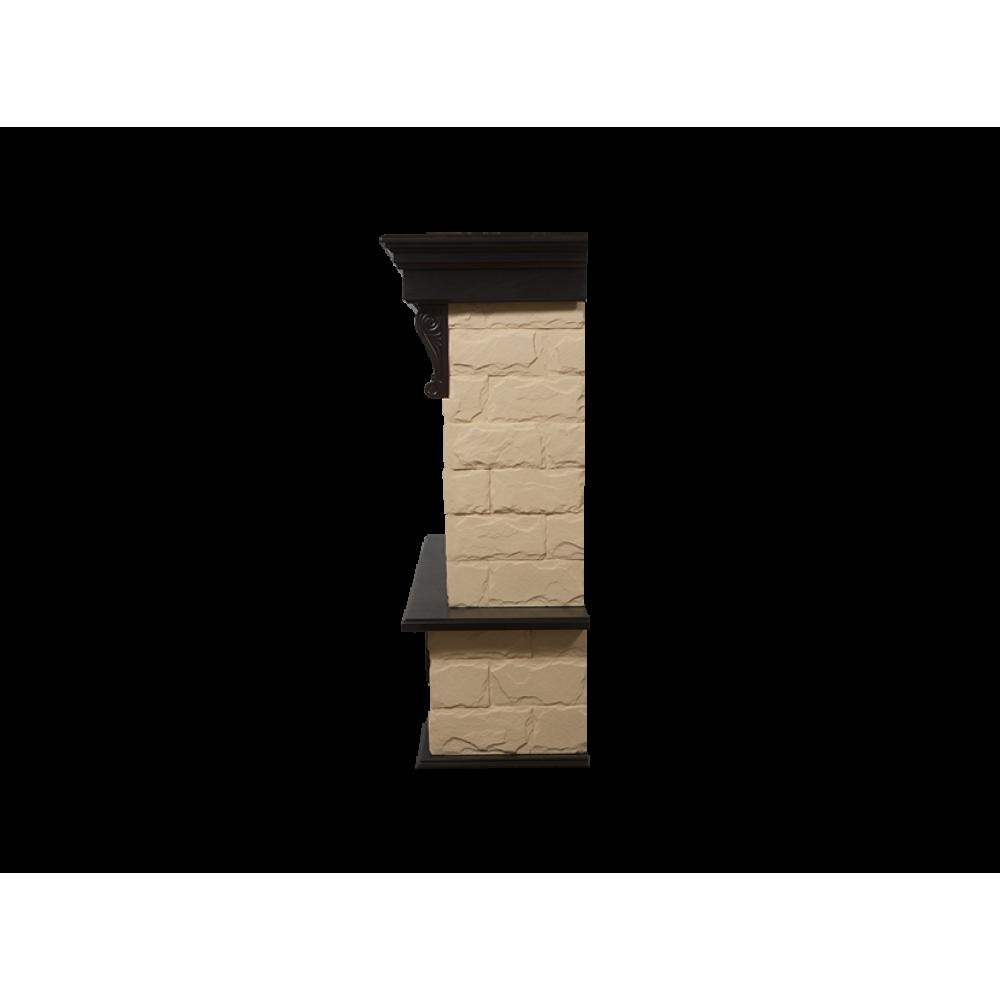 Каминокомплект Forte 25S камень бежевый, шпон Темный дуб