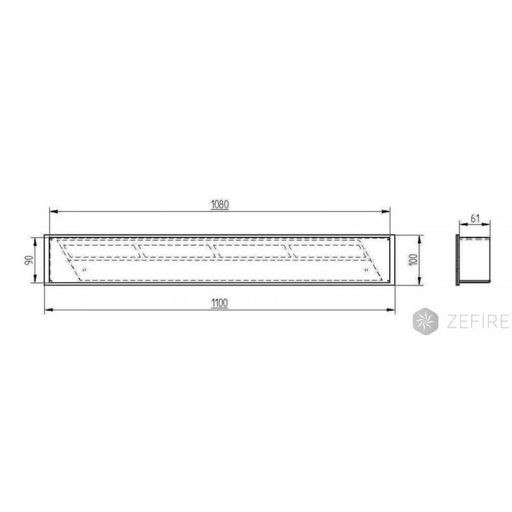 Топка-горелка Прямоугольный контейнер ZEFIRE 1100, 1200, 1300, 1400, 1600, 1800, 2000
