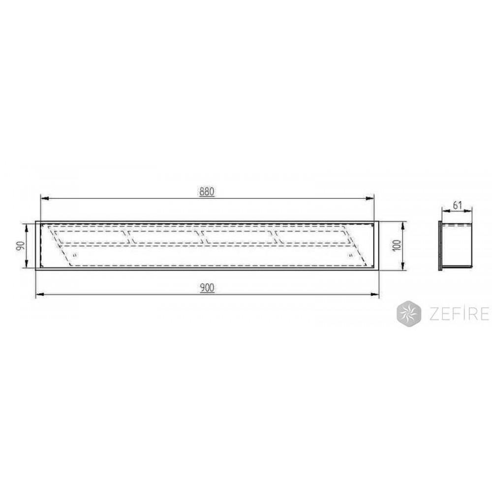 Топка-горелка Прямоугольный контейнер ZeFire 340, 400, 500, 600, 700, 800, 900, 1000
