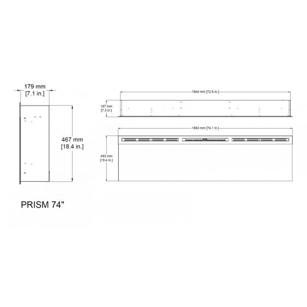 "Электрокамин Prism 74"" LED"