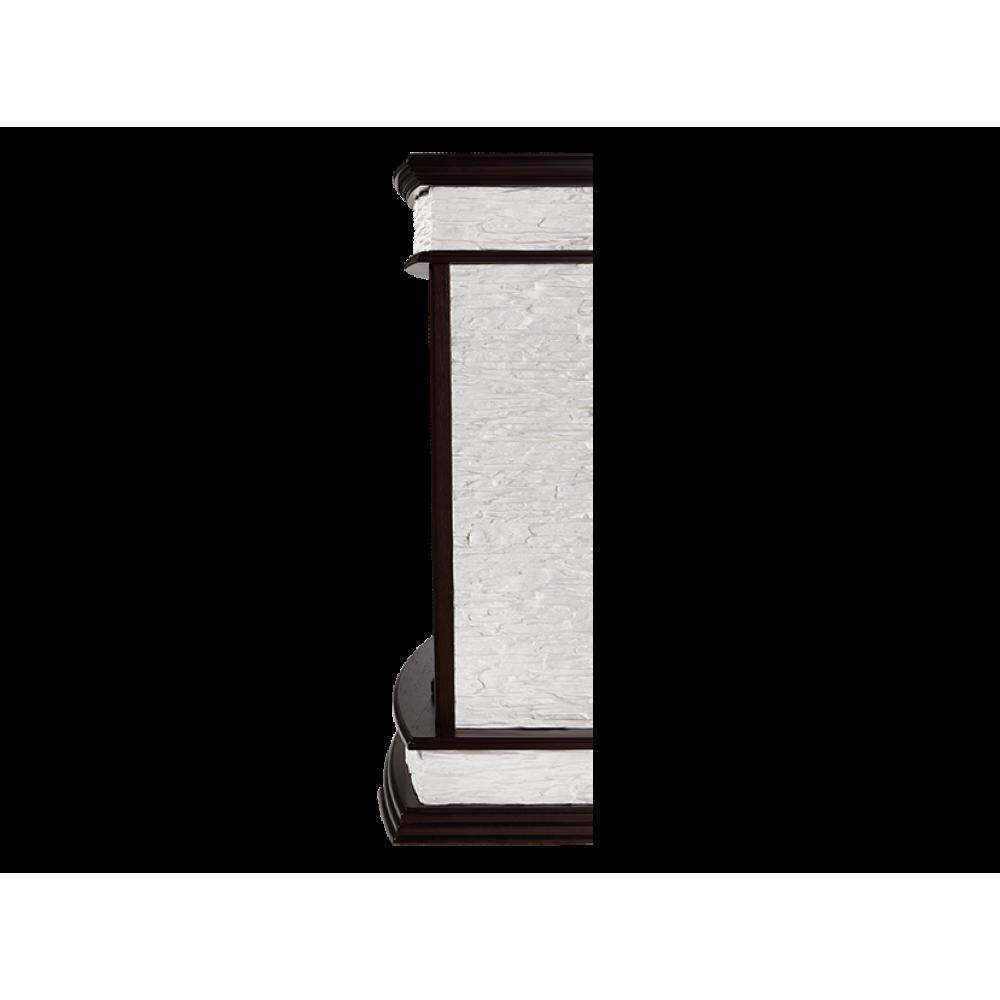 Каминокомплект Scala 25 камень сланец скалистый белый, шпон тёмный дуб